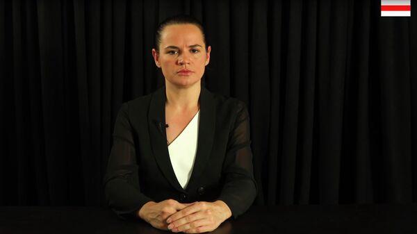 Светлана Тихановская во время обращения к Европейскому совету. Стоп-кадр видео