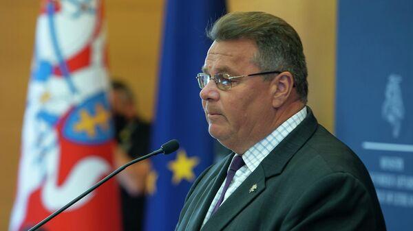 Министр иностранных дел Литовской Республики Линас Линкявичюс на пресс-конференции в МИД по поводу ситуации в Республике Беларусь