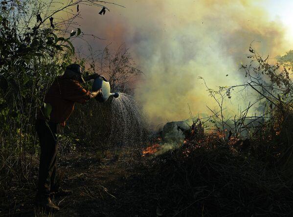 Фермер поливает водой участок земли рядом с горящим лесом Амазонии в Бразилии