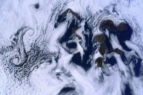 Галапагосские острова с борта МКС