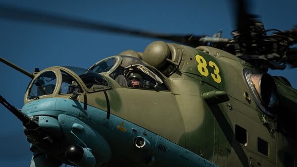 Ударный вертолет Ми-35 армейской авиации ВКС России