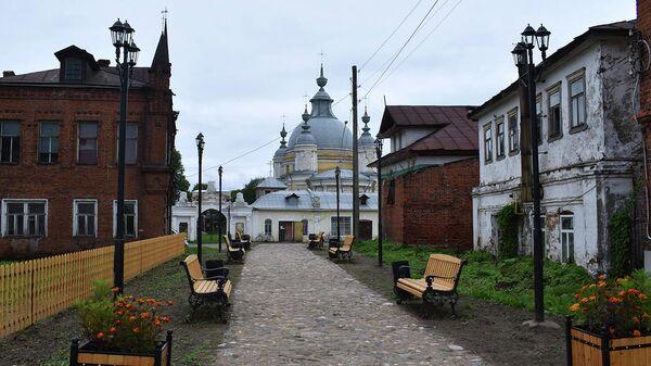 Прогулочная зона Купеческий дворик в Усть-Кубинском районе Вологодской области