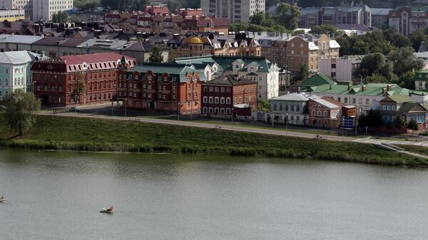Вид на озеро Кабан и Старо-Татарскую слободу с вертолетной площадки гостиницы Гранд Отель Казань