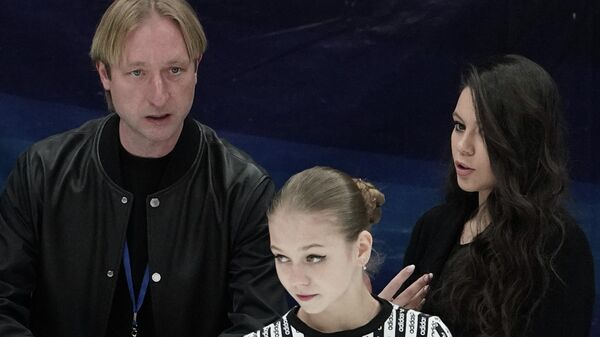 Евгений Плющенко, Елена Ильиных и Александра Трусова