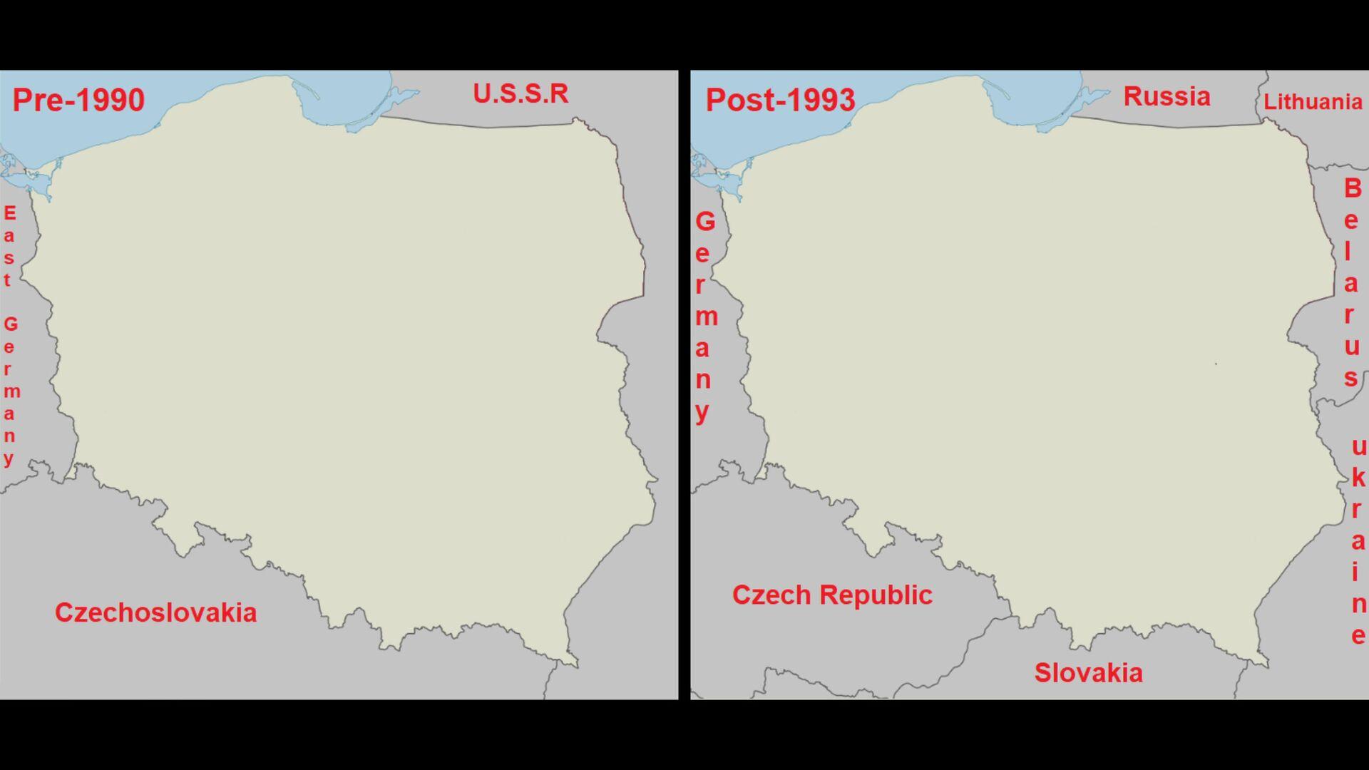 Карта Польши до 1990 и после 1993 года - ПРОФИ Новости, 1920, 15.09.2020