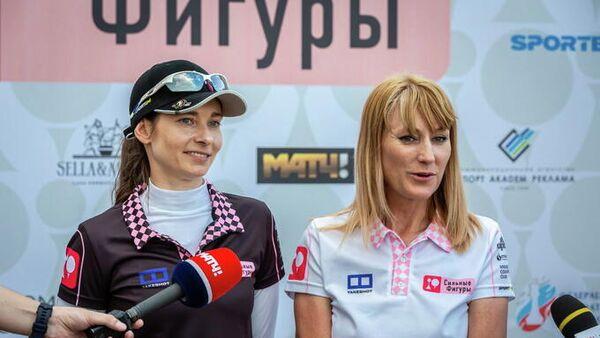 Олимпийская чемпионка по конькобежному спорту и депутат Государственной думы Светлана Журова (справа)