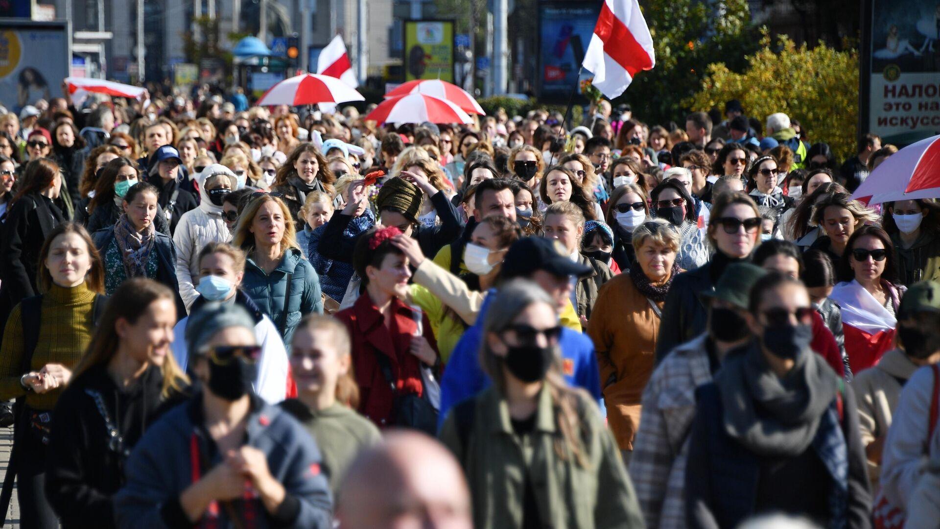 Участники марша оппозиции в Минске - РИА Новости, 1920, 20.09.2020