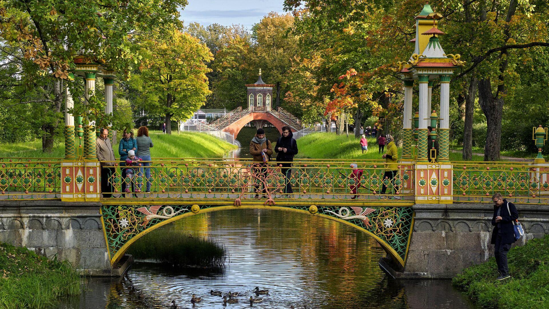 Молодые люди кормят уток с Китайского моста в Александровском парке в Пушкине - РИА Новости, 1920, 03.03.2021