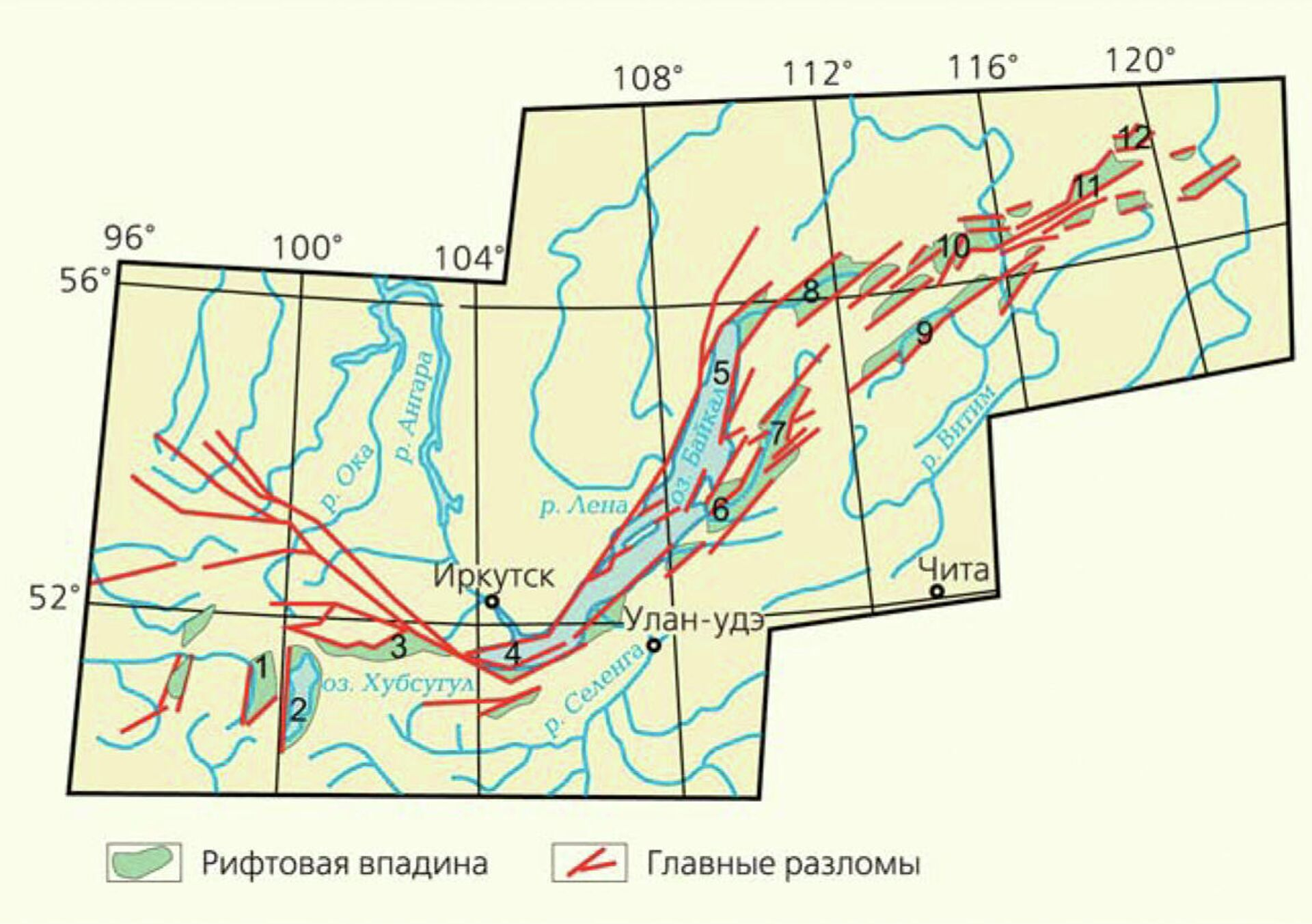 Байкальская рифтовая зона. Цифрами на схеме обозначены крупные рифтовые впадины: Дархатская (1), Косогол (2), Тункинская (3), Южнобайкальская (4), Северобайкальская (5), Усть-Баргузинская (6), Баргузинская (7), Верхнеангарская (8), Ципинская (9), Муйская (10), Чарская (11), Токкийская (12) - РИА Новости, 1920, 22.09.2020