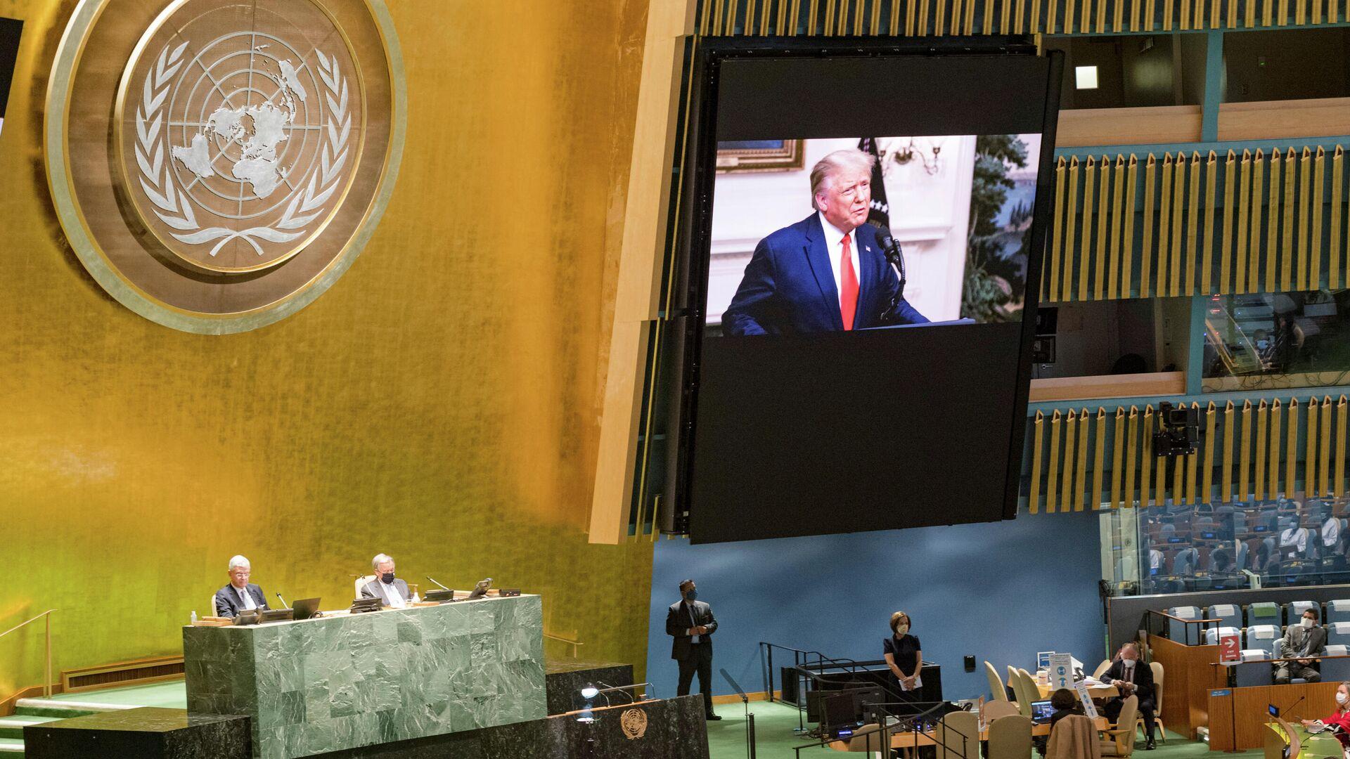 Трансляция обращения президента США Дональда Трампа к Генассамблее ООН - РИА Новости, 1920, 23.09.2020