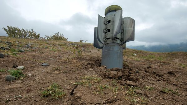 Реактивный снаряд системы Смерч на территории общины Иванян Нагорного Карабаха