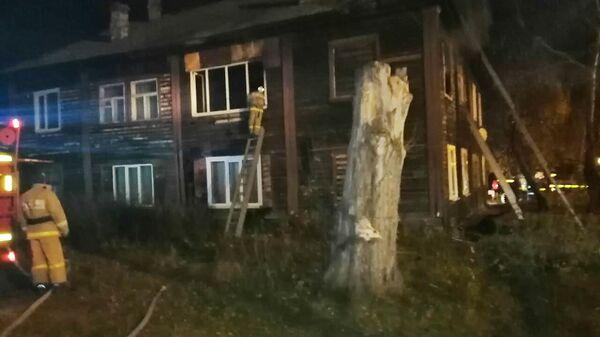 На месте пожара в квартире в  городе Тавда Свердловской области