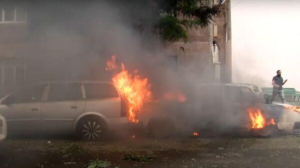Последствия обстрела Степанакерта, Нагорный Карабах. Стоп-кадр видео