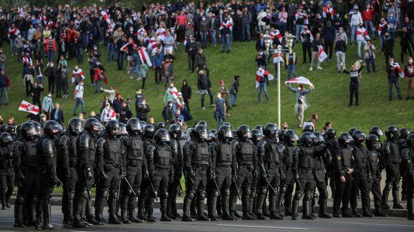 Во время акции протеста в Минске. 4 октября 2020