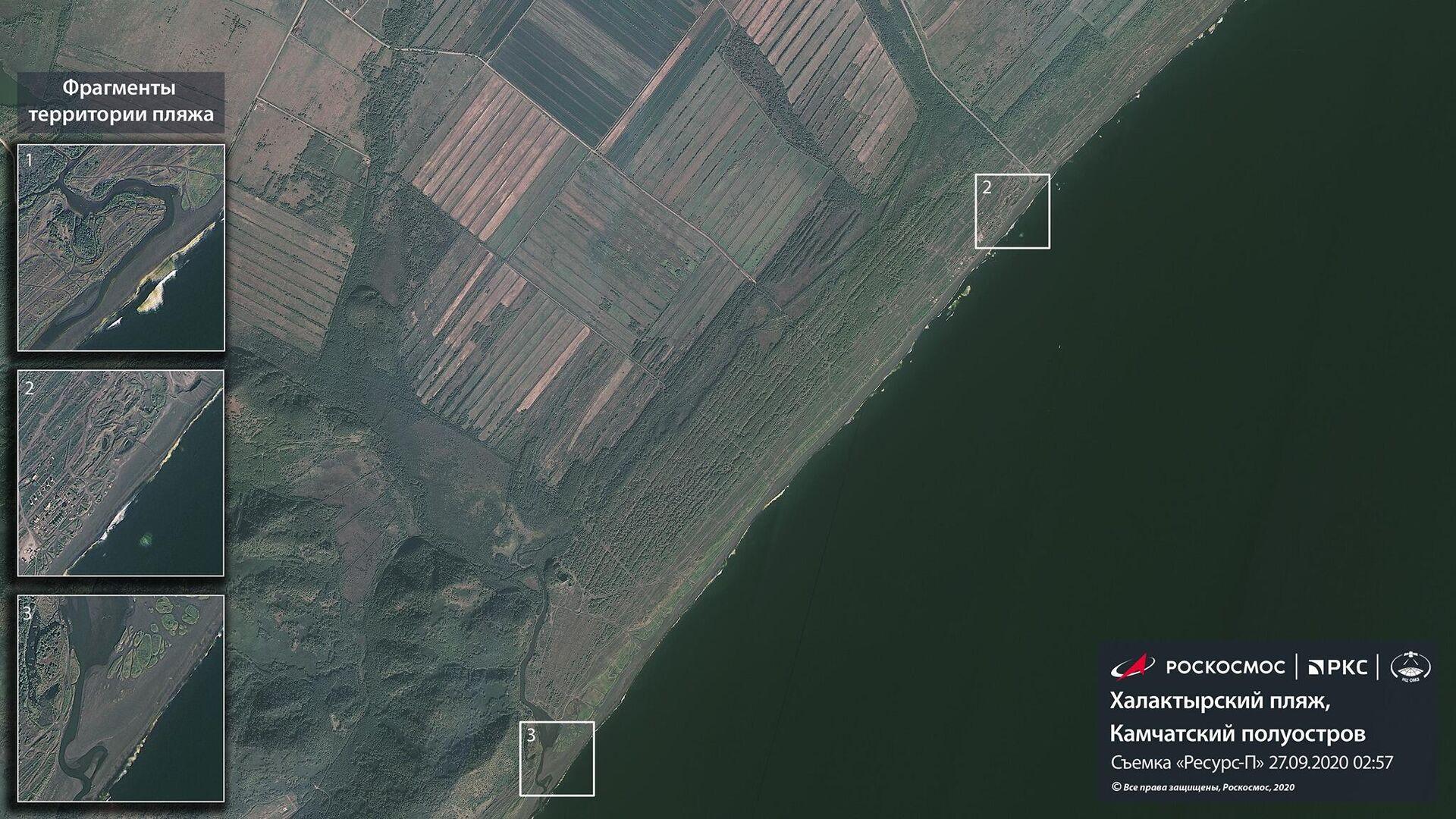 Роскосмос показал спутниковые снимки Камчатки, где произошло загрязнение побережья - РИА Новости, 1920, 10.10.2020