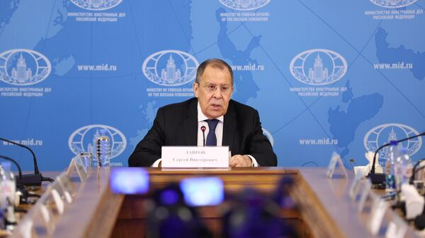 Министр иностранных дел РФ Сергей Лавров во время встречи с представителями Ассоциации европейского бизнеса