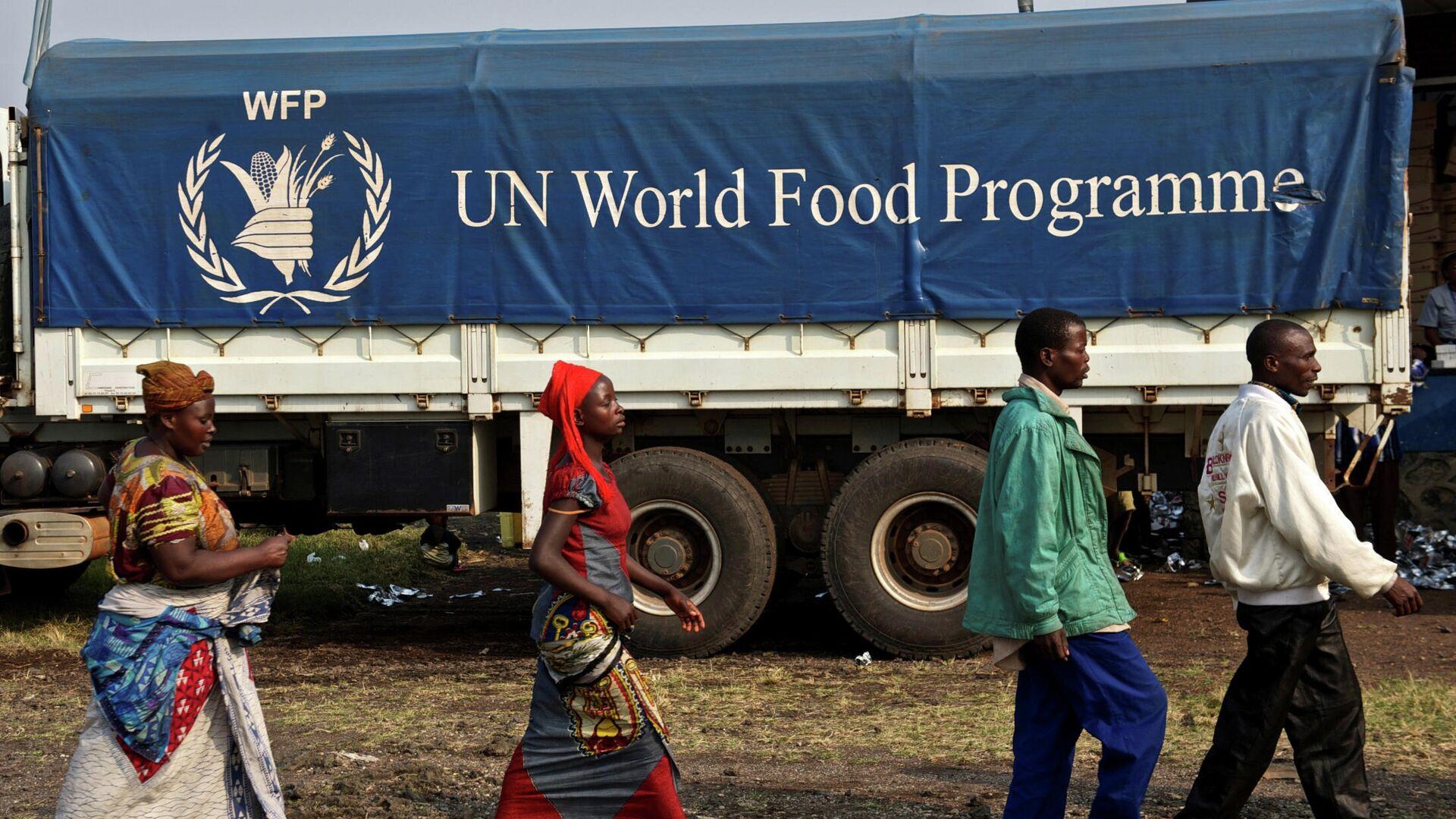 Логотип продовольственной программы ООН на грузовике в Конго - РИА Новости, 1920, 09.10.2020