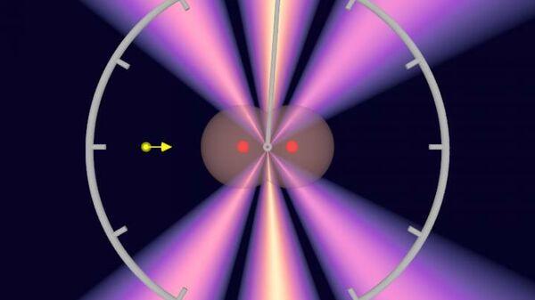 Интерференционная картина прохождения фотона (желтый) сквозь молекулу водорода (ядра двух атомов обозначены красным)