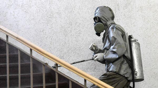 Дезинфекция в сборном пункте военного комиссариата Севастополя