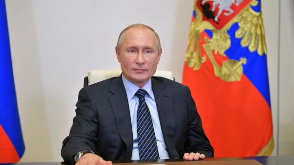 Президент РФ Владимир Путин во время встречи в режиме видеоконференции с членами правления Российского союза промышленников и предпринимателей (РСПП)