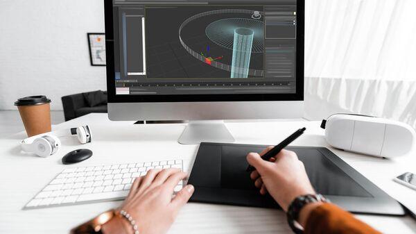 3D-дизайнер за работой