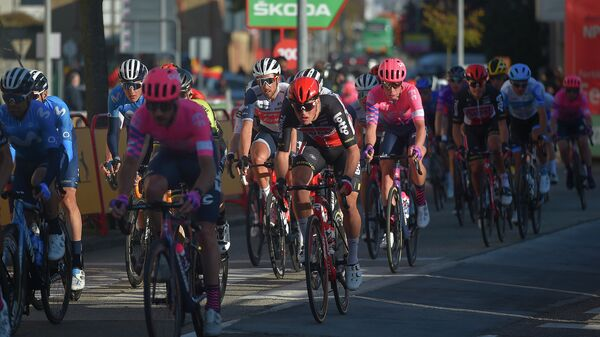 Cyclists compete in the 9th stage of the 2020 La Vuelta cycling tour of Spain, a 157,7-km race from Castrillo del Val to Aguilar de Campoo, on October 29, 2020. (Photo by ANDER GILLENEA / AFP)
