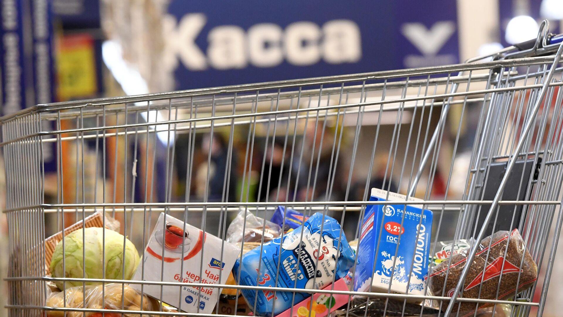 Тележка с продуктами в магазине - РИА Новости, 1920, 10.12.2020