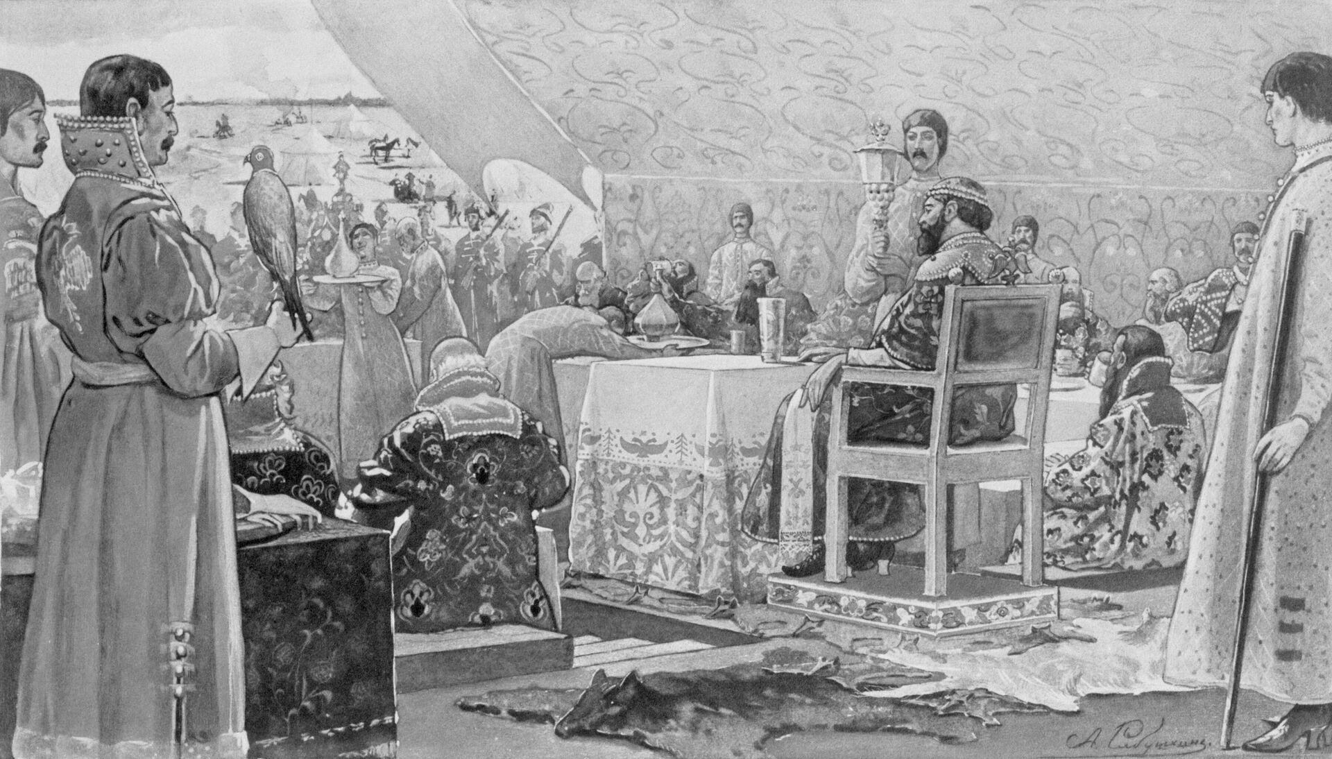Пир царя Алексея Михайловича с ближними боярами в отъезжем поле. - РИА Новости, 1920, 13.11.2020