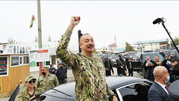 Президент Азербайджана Ильхам Алиев и первая леди Мехрибан Алиева во время посещения Физулинского и Джебраильского района