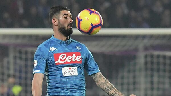 Napoli's Albanian defender Elseid Hysaj chest controls the ball during the Italian Serie A football match Fiorentina vs Napoli on February 9, 2019 at the Artemio-Franchi stadium in Florence. (Photo by Tiziana FABI / AFP)