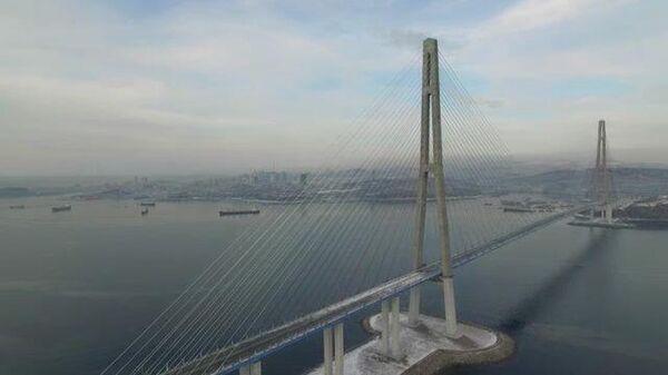 Кадры закрытого моста на остров Русский во Владивостоке