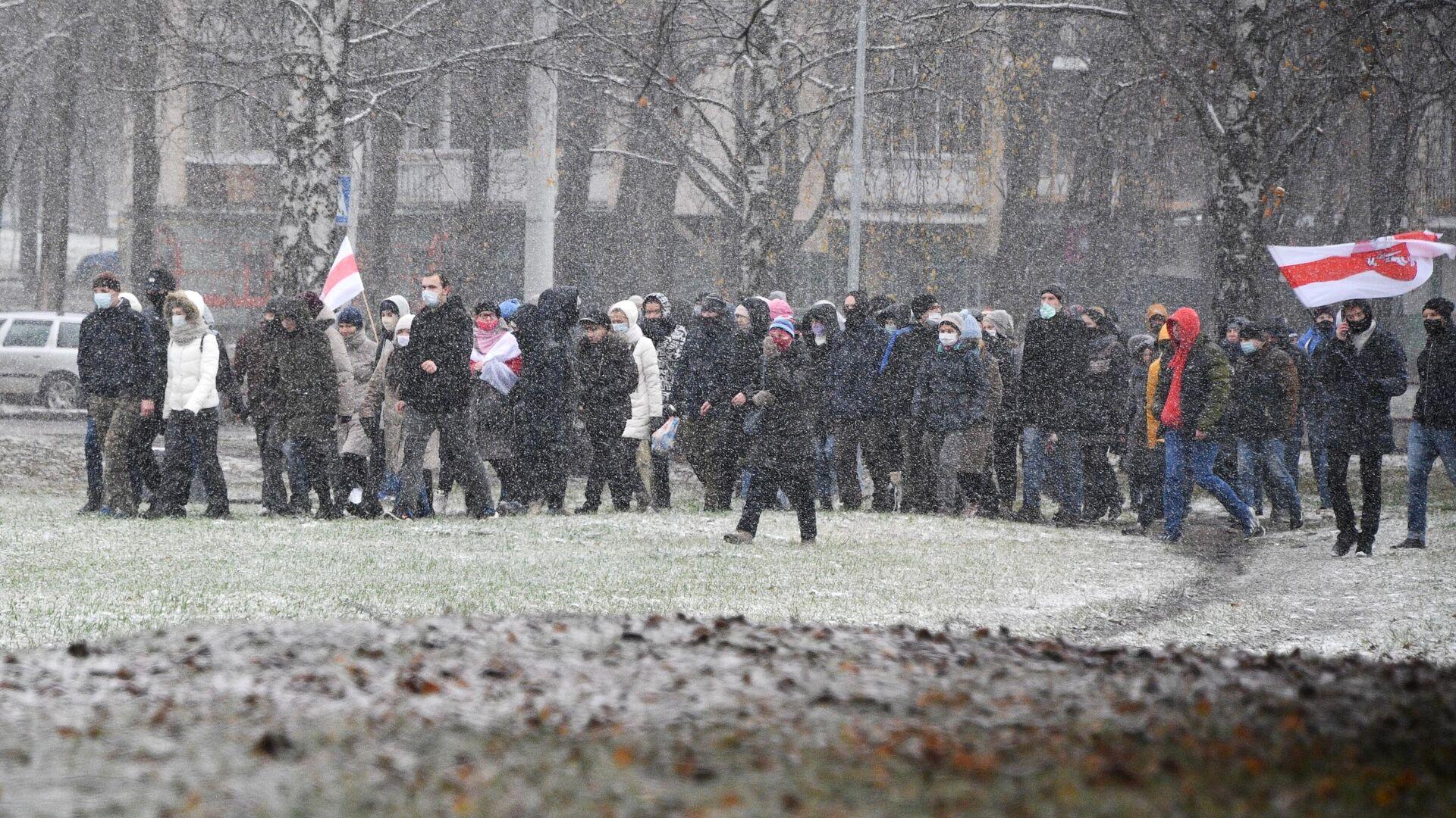 Участники несанкционированной акции протеста Марш соседей в Минске - РИА Новости, 1920, 29.11.2020