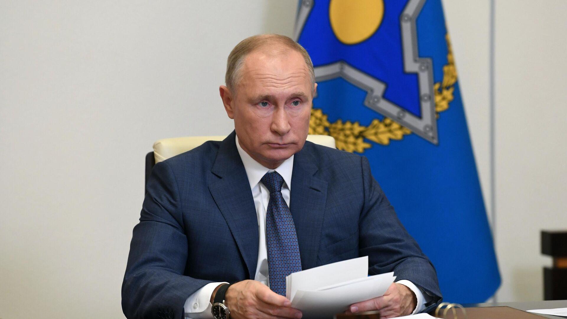 Президент РФ Владимир Путин проводит сессию Совета коллективной безопасности ОДКБ - РИА Новости, 1920, 05.12.2020