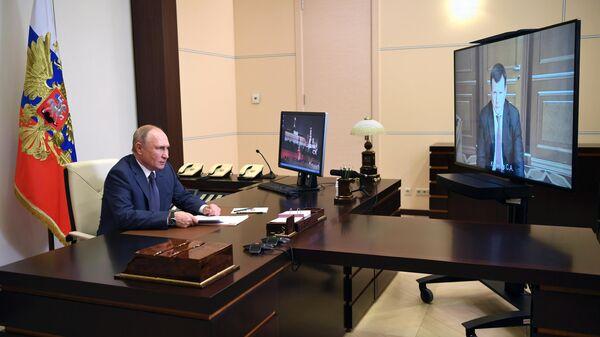 Президент РФ Владимир Путин во время встречи в режиме видеоконференции с Сергеем Куликовым