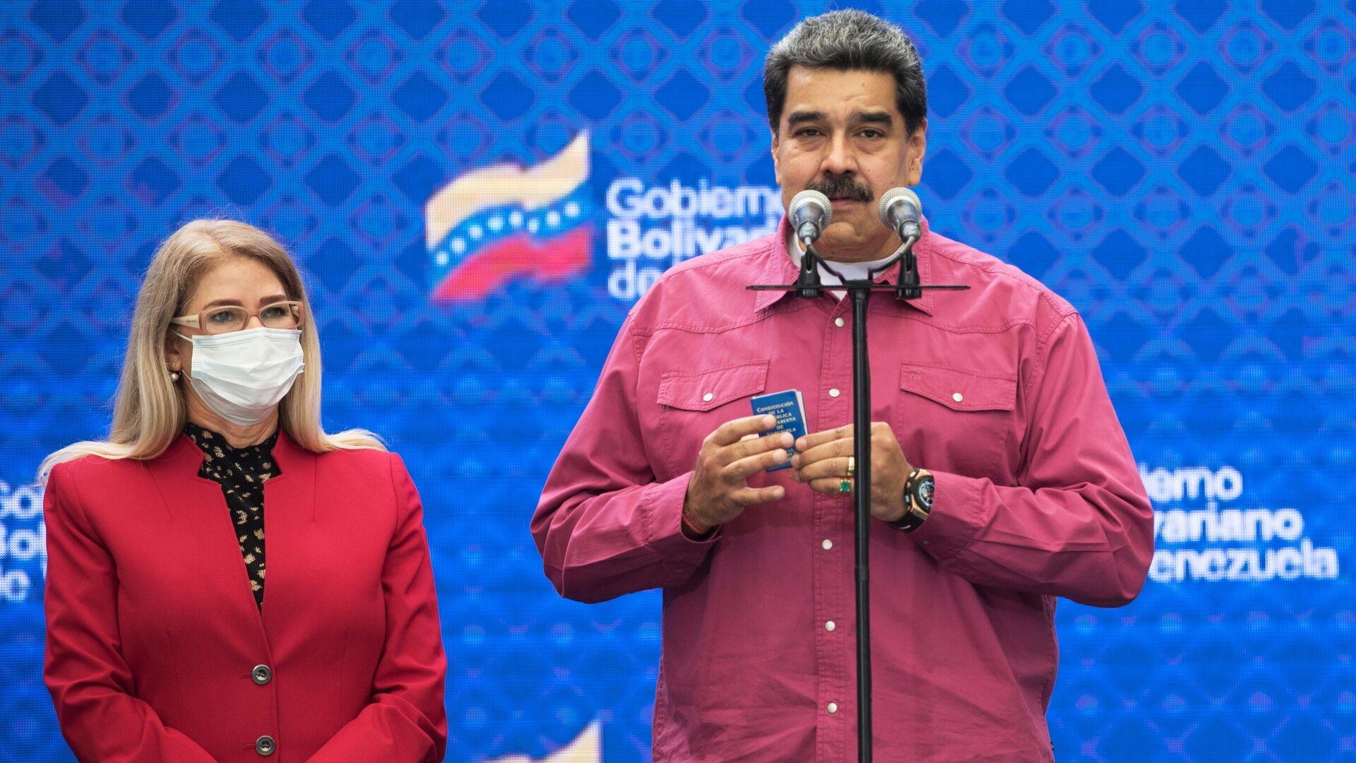 Президент Венесуэлы Николас Мадуро на брифинге после своего участия в голосовании в парламентских выборах  - РИА Новости, 1920, 08.12.2020