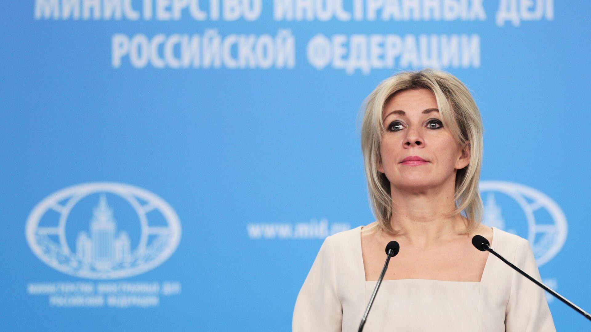 Официальный представитель Министерства иностранных дел России Мария Захарова во время брифинга  - РИА Новости, 1920, 03.03.2021