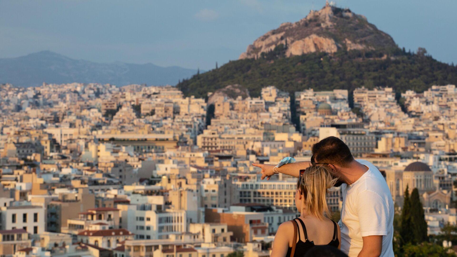 Туристы на холме Акрополь в Афинах - РИА Новости, 1920, 03.05.2021
