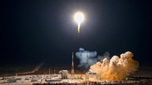 Пуск ракеты-носителя Союз-2.1б с космодрома Восточный