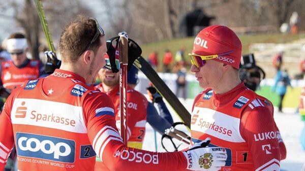 Лыжники сборной России Глеб Ретивых и Александр Большунов на Чемпионате мира по лыжным гонкам в Дрездене