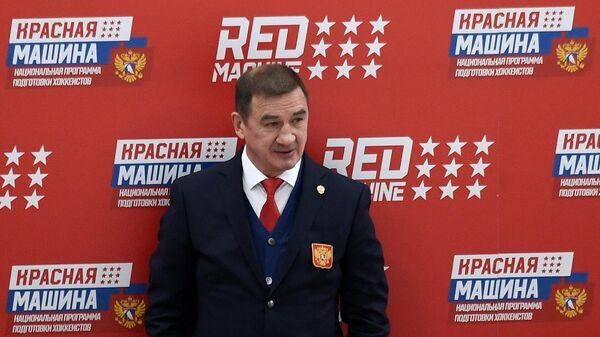 Главный тренер сборной России Валерий Брагин перед началом матча второго этапа Еврохоккейтура 2020/21 Кубок Первого канала между сборными командами России и Финляндии.