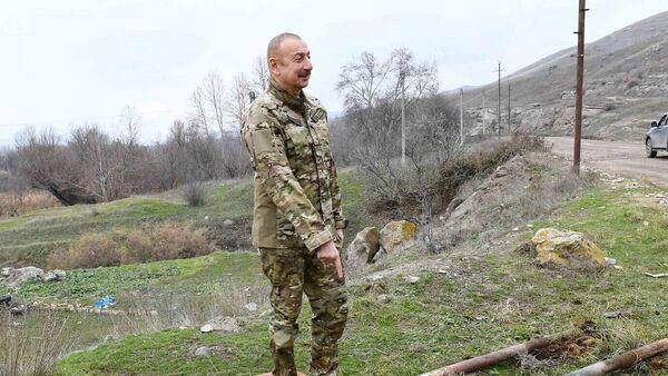 Президент Азербайджана Ильхам Алиев во время посещения Зангиланского и Губадлинского районов