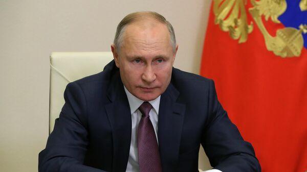 Президент России Владимир Путин проводит в режиме видеоконференции заседание попечительского совета МГУ