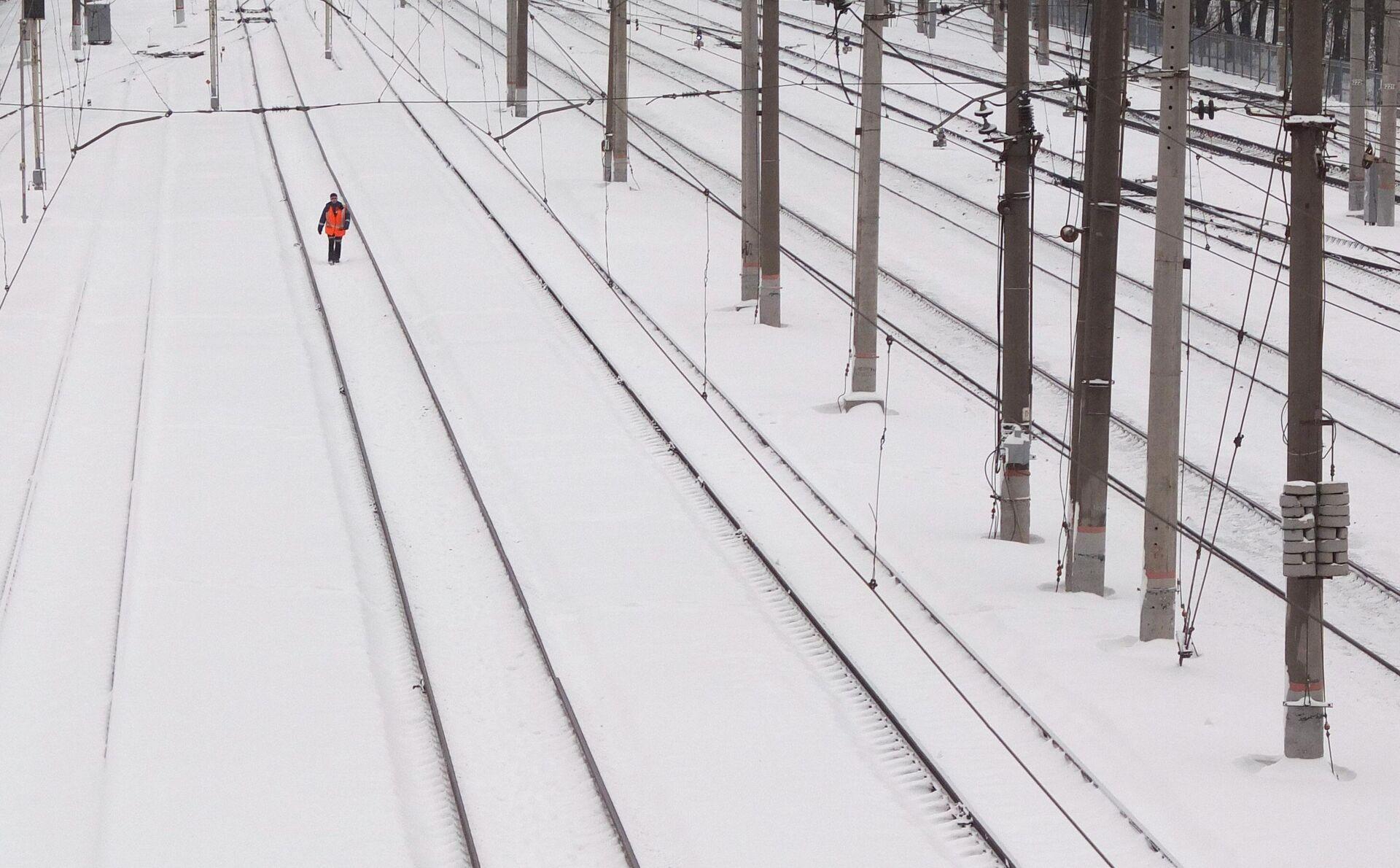 Работник железной дороги обходит железнодорожные пути  - РИА Новости, 1920, 07.02.2021