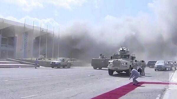 Взрыв в аэропорту Аден. Кадр видео Аль-Арабия