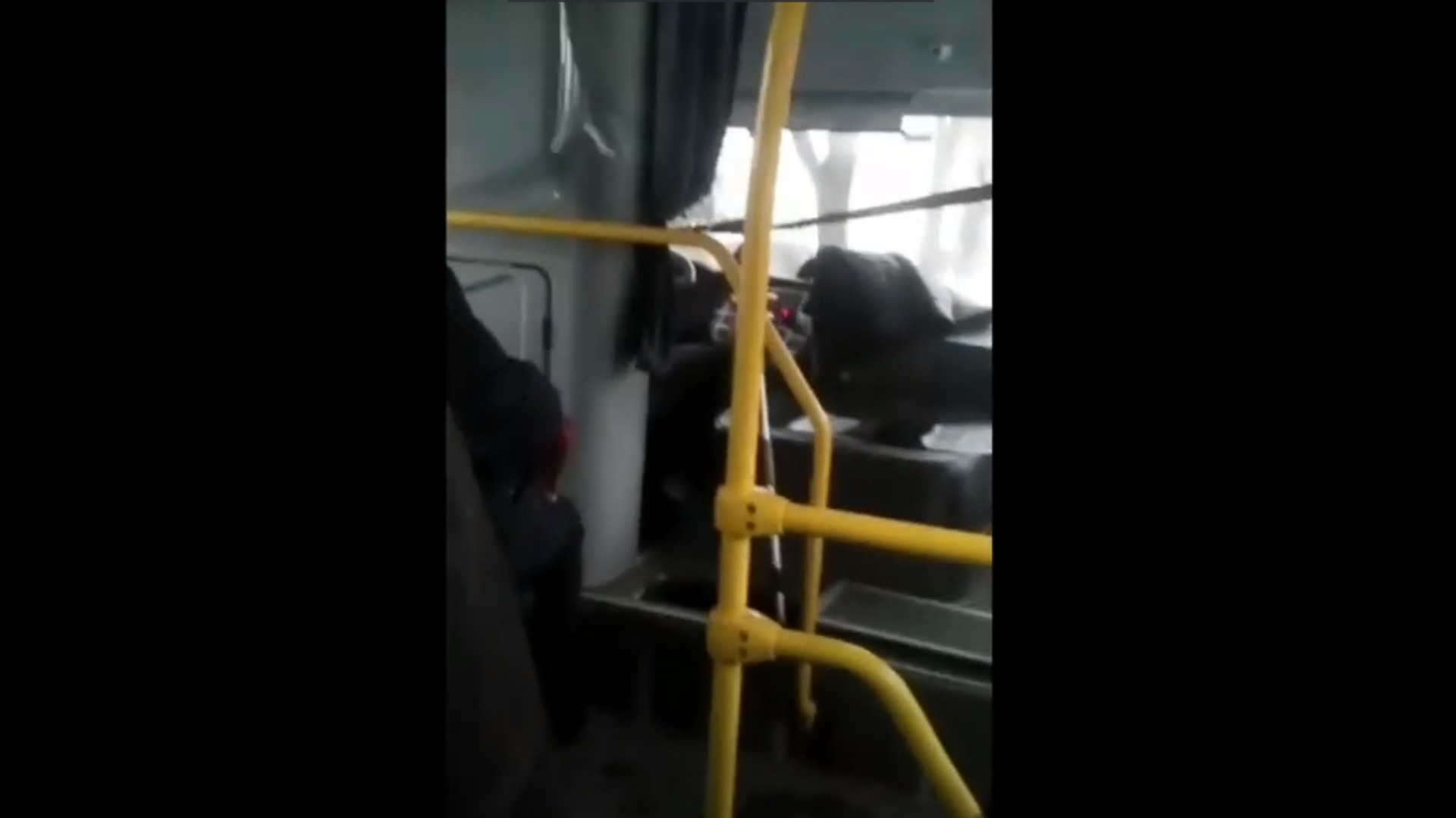 Водитель автобуса переключает передачи шваброй - РИА Новости, 1920, 14.01.2021