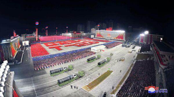 Военный парад по случаю VIII съезда Трудовой партии Кореи в Пхеньяне. 15 января 2021