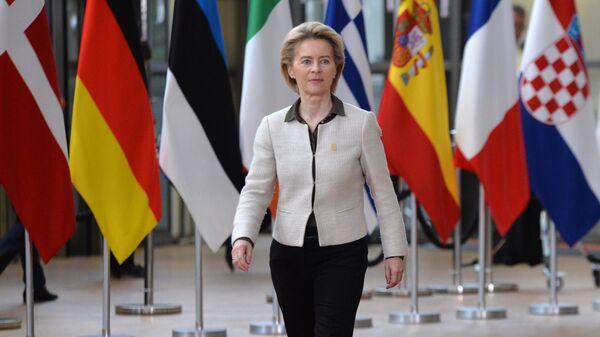 Председатель Европейской комиссии Урсула фон дер Ляйен на саммите ЕС в Брюсселе