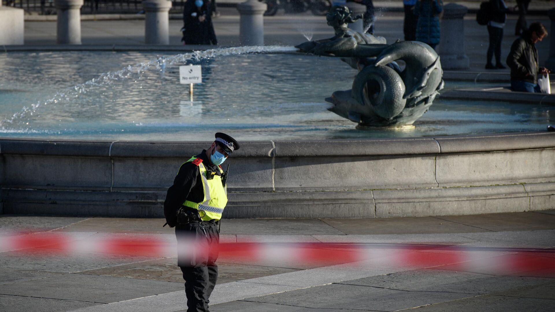 Сотрудник полиции на Трафальгарской площади в Лондоне  - РИА Новости, 1920, 23.01.2021