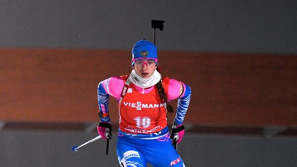 Светлана Миронова (Россия) на дистанции гонки преследования среди женщин на II этапе Кубка мира по биатлону сезона 2020/21 в финском Контиолахти.