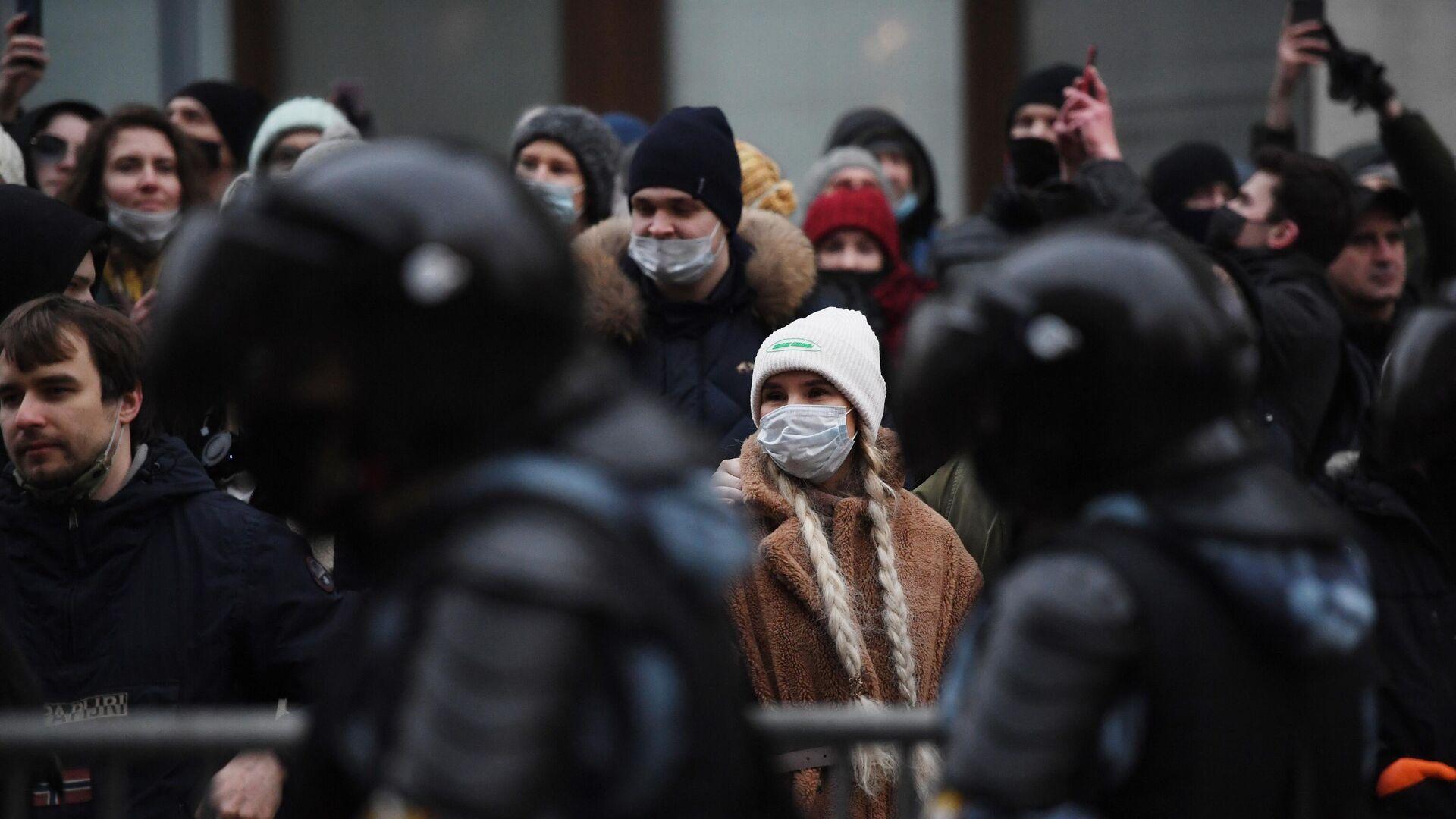 Участники несанкционированной акции сторонников Алексея Навального в Москве - РИА Новости, 1920, 25.01.2021